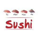 Olika typer av den japanska sushi Royaltyfria Foton