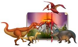 Olika typer av dinosaurier på boken Royaltyfria Bilder
