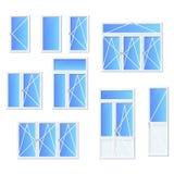 Olika typer av fönster och dörrar royaltyfri illustrationer