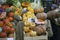 Olika typer av grönsaker på staden marknadsför i London Royaltyfri Bild