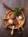 Olika typer av grovt salt för mat royaltyfria foton