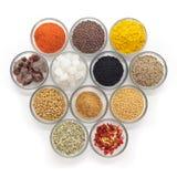 Olika typer av indiska kryddor i glass bunkar Royaltyfri Foto