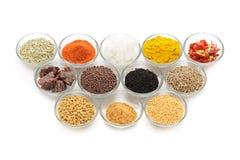 Olika typer av indiska kryddor i glass bunkar Royaltyfri Bild