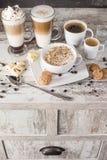 Olika typer av kaffe Fotografering för Bildbyråer