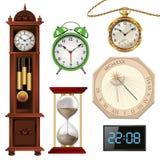 Olika typer av klockor stock illustrationer