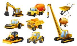 Olika typer av konstruktionslastbilar royaltyfri illustrationer