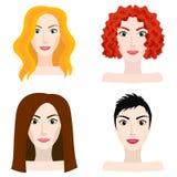 Olika typer av kvinna- och flickautseendet Vektor Illustrationer