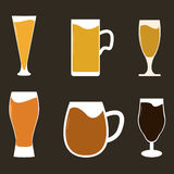 Olika typer av öl Arkivfoton