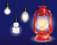 Olika typer av lampor och en röd lyktaillustration stock illustrationer