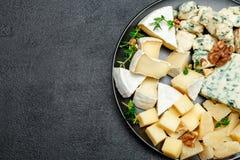 Olika typer av ost i mörk platta Royaltyfri Foto