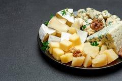 Olika typer av ost i mörk platta Fotografering för Bildbyråer
