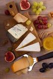 Olika typer av ost på en träbakgrund Olika typer av ost med druvor, honung, fikonträd och muttrar på den lantliga trätabellen Arkivbilder