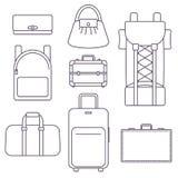 Olika typer av påsar, resväskan, ryggsäcken och bagage Vektor Illustrationer