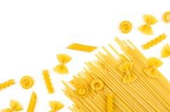 Olika typer av pasta Royaltyfri Fotografi