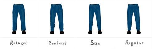 Olika typer av sikten för jeans för man` som s den främre isoleras på vit Arkivfoto