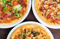 Olika typer av smaklig pizza Royaltyfria Foton