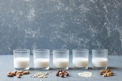 Olika typer av strikt vegetarianicke-mejeri mjölkar i exponeringsglas på träbakgrund med kopieringsutrymme royaltyfri foto