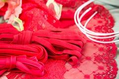 Olika typer av torkduken, textiler för framställning av behå Arkivfoto
