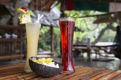 Olika typer av tropiska coctailar thailand Fotografering för Bildbyråer