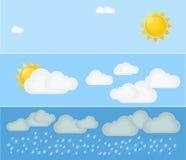 Olika typer av väder Dag och sommar Plan vektorillustration Symboler och symboler av väderämnet Arkivbilder