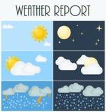 Olika typer av väder den lätta dagen redigerar natt till vektorn Plan vektorillustration Symboler och symboler av väderämnet Royaltyfri Foto