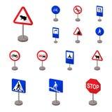 Olika typer av vägmärketecknad filmsymboler i uppsättningsamlingen för design Symbol för varna och förbudteckenvektor royaltyfri illustrationer
