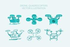Olika typer för surrquadrocopters, isometrics Arkivfoto
