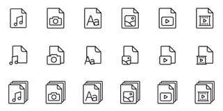 Olika typmappsymboler ställde in på vit bakgrund vektor illustrationer