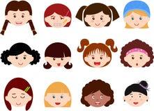 olika ungar för kvinnligflickahuvud ställde in kvinnor Royaltyfri Fotografi