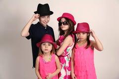 Olika ungar i hattar Arkivfoto