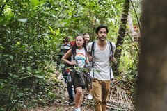 Olika ungdomarsom trekking i en tropisk skog royaltyfri fotografi