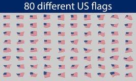 80 olika USA-flaggor Royaltyfri Fotografi