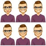 Olika uttryck för Hipsterman royaltyfri illustrationer