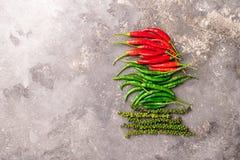 Olika variationer av varm peppar på en grå texturerad bakgrund Östligt asiatiskt matbegrepp Plan orientering arkivfoton