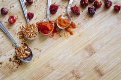 Olika varma kryddor på en träbakgrund Fotografering för Bildbyråer