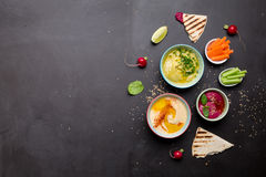Olika vegetariska färgrika dopp med pitabröd Royaltyfri Fotografi
