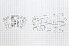 Olika websites bredvid gruppen av kommande kommentarer ut arkivfoto