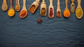 Olikt av indiska kryddor och örter i träskedar Lägenhet som är lekmanna- av Arkivbild