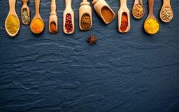 Olikt av indiska kryddor och örter i träskedar Lägenhet som är lekmanna- av Arkivfoton