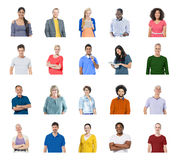 Olikt begrepp för teknologi för globala kommunikationer för folk Arkivbilder