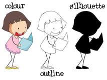 Olikt diagram av flickaläseboken stock illustrationer