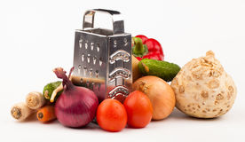 Grönsaker på vit Arkivbilder