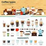 Olikt kaffe på tabellen Arkivbild