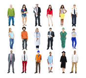 Olikt multietniskt folk med olika jobb royaltyfria foton