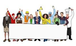 Olikt multietniskt folk med olika jobb arkivbilder