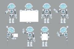 Olikt poserar för robotandroiden för pojken den tonåriga vektorn för designen för lägenheten för manöverenheten för information o vektor illustrationer