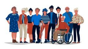 Olikt samhällefolk Grupp av olikt blandras- och mångkulturellt folk som tillsammans står Tillfälliga män för vektor och vektor illustrationer