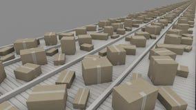 Olikt - storleksanpassade lådor som är rörande på transportörer, perspektivsikt, CGI Arkivfoton