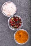 Olikt torka kryddor, såser och sädesslag i glass former på backgro Arkivfoton