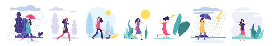 Olikt väder för kvinna Flicka som utomhus går i regn för värme för vind för olikt klädersnöfall molnigt med paraplyförkylning vektor illustrationer